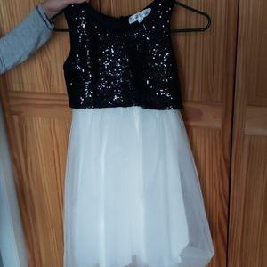 Emerald Gumdrop Sequin Black and White Dress